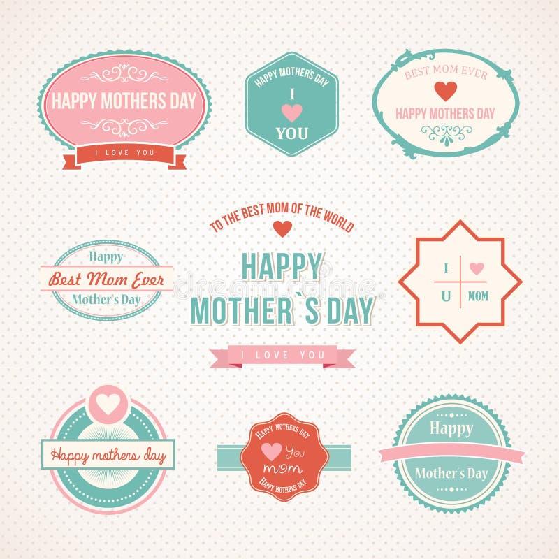 Retro progettazione stabilita dell'etichetta di giorno di madri illustrazione vettoriale