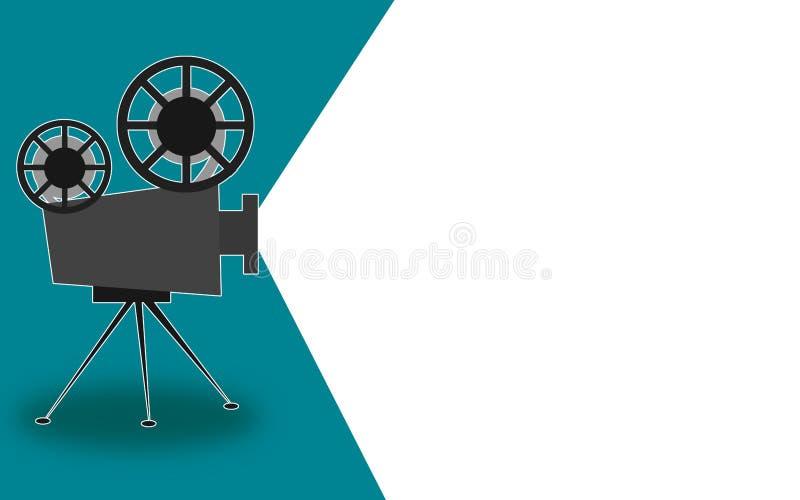 Retro proiettore del cinema con il posto del testo illustrazione di stock