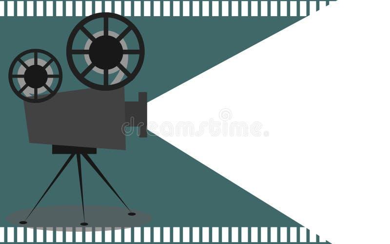 Retro proiettore del cinema con il posto del testo royalty illustrazione gratis