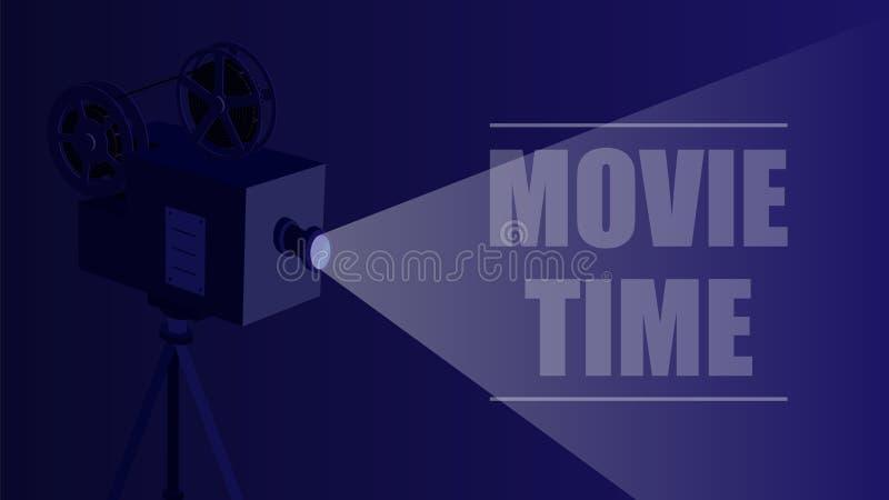 Retro proiettore di film su un fondo nero illustrazione vettoriale