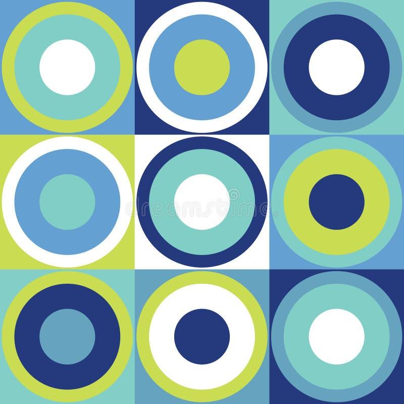 Retro projekt płytki tło z kolorowymi okręgami royalty ilustracja