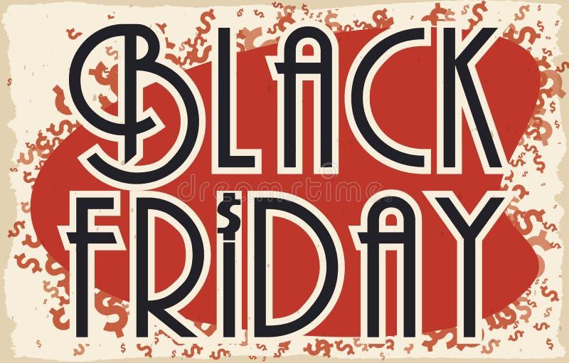 Retro projekt z pieniędzy symbolami dla Black Friday sprzedaży, Wektorowa ilustracja ilustracji