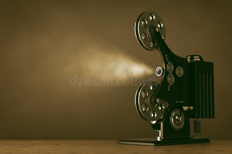 Retro projektor för bio för filmfilm framförande 3d royaltyfri illustrationer