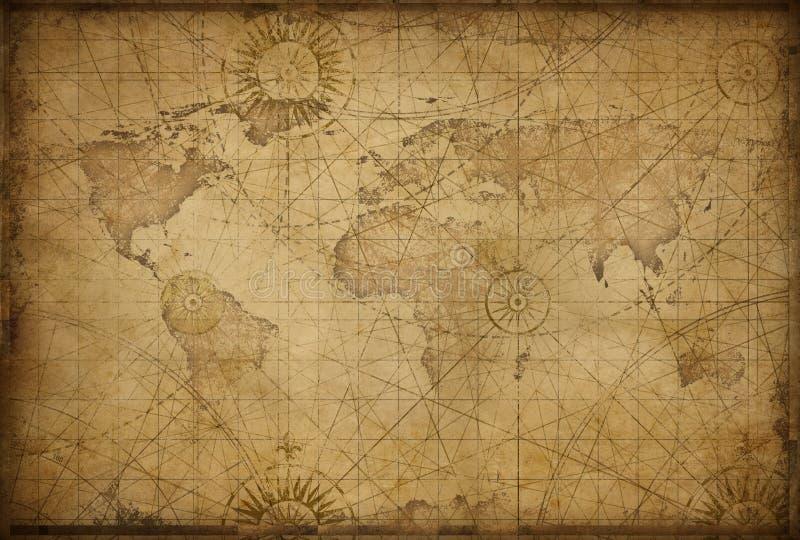 Retro projektująca światowa mapa royalty ilustracja