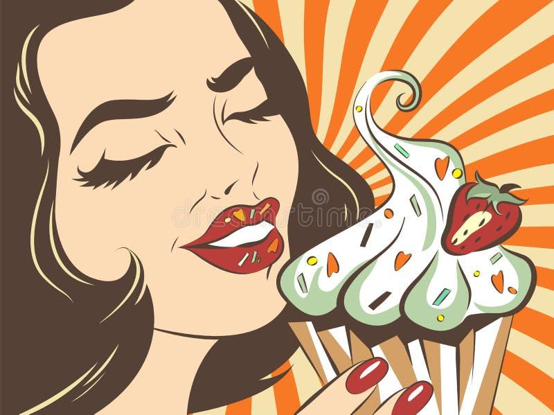 Retro projektująca cieszy się kobieta Wystrzał sztuki ilustracja dziewczyna z tortem Odziewa druk Cukierniany reklamowy plakat Ro ilustracji