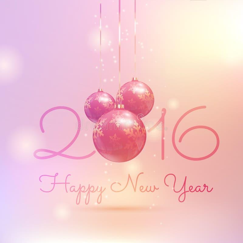 Retro projektujący Szczęśliwy nowego roku bauble tło royalty ilustracja