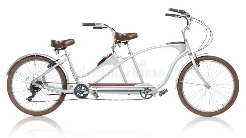 Retro projektujący tandemowy bicykl odizolowywający na bielu obrazy stock