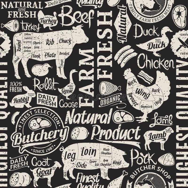 Retro projektujący typograficznego wektorowego butchery bezszwowy wzór lub bac ilustracja wektor