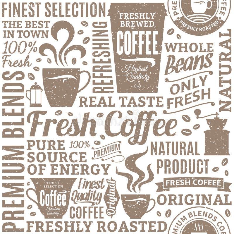 Retro projektujący typograficznego wektorowego sklep z kawą bezszwowy wzór lub royalty ilustracja