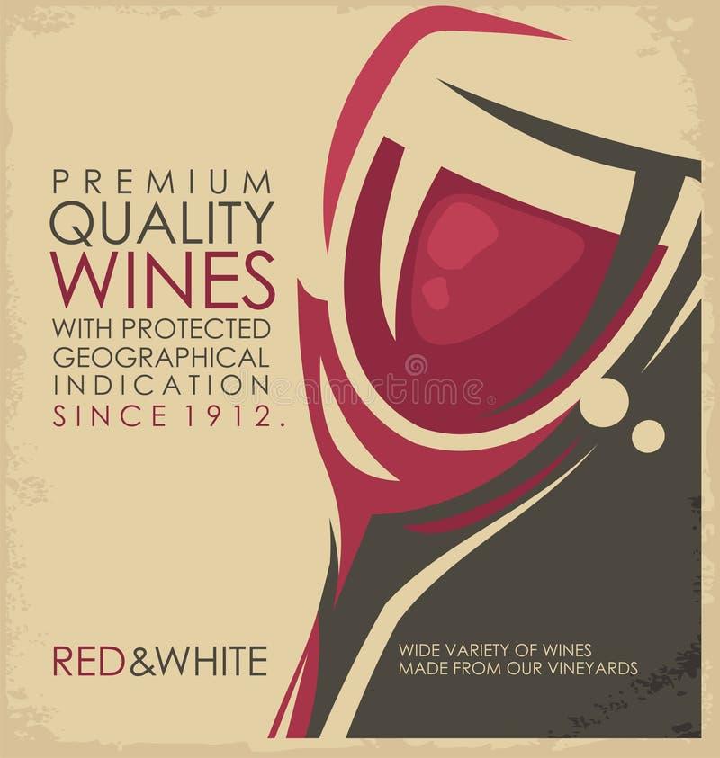 Retro promocyjny materiał dla wytwórnii win lub wino sklepu royalty ilustracja