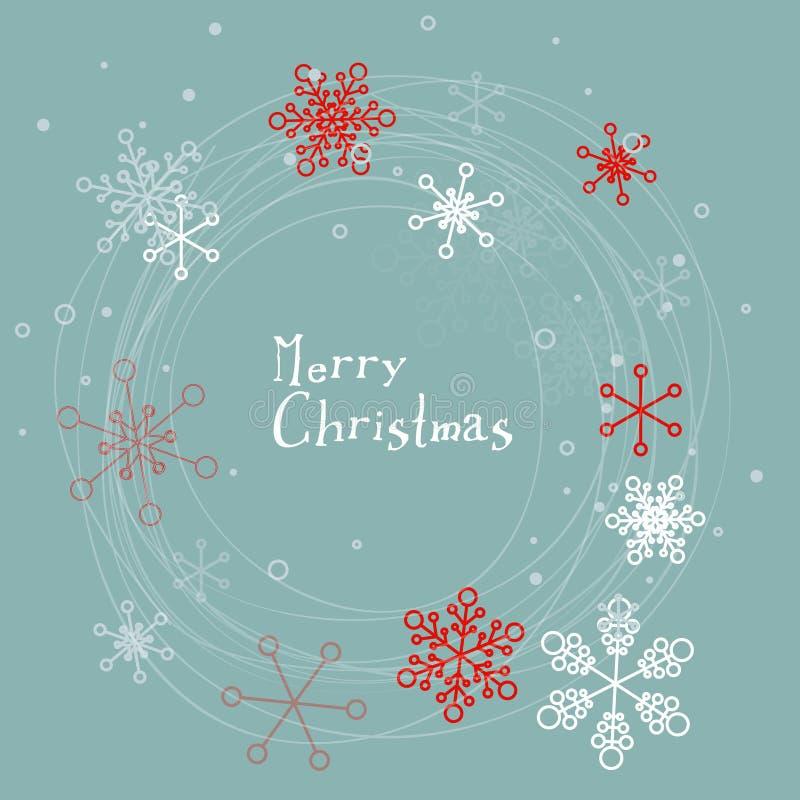 Retro prosta kartka bożonarodzeniowa z płatkami śniegu ilustracji