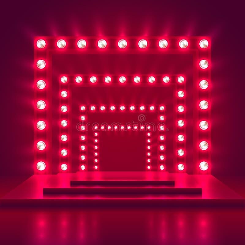 Retro przedstawienie scena z światło ramy dekoracją Gemowego zwycięzcy kasynowy wektorowy tło ilustracja wektor