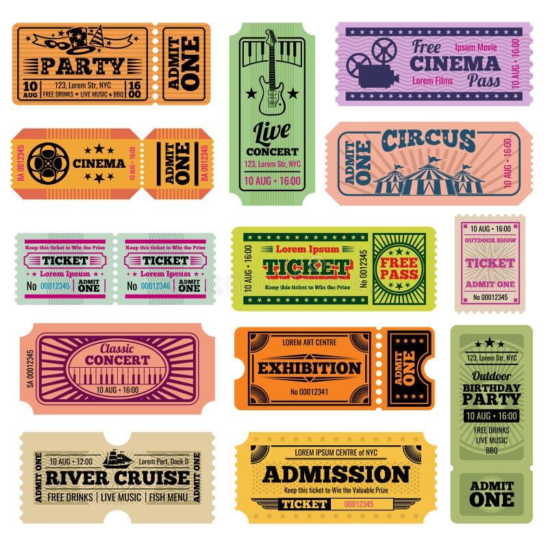 Retro przyjęcia, kina, filmu i muzyki wydarzenia wektorowi przelotni bilety ustawiający, royalty ilustracja