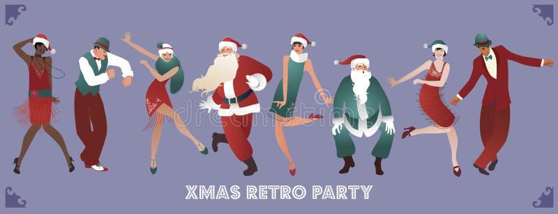 Retro przyjęcie gwiazdkowe Grupa cztery mężczyzna i cztery dziewczyny tanczy Charleston royalty ilustracja