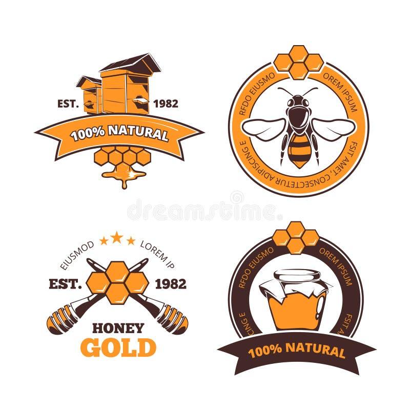 Retro pszczelarka, miodowe wektorowe etykietki, odznaki, emblematy ilustracja wektor