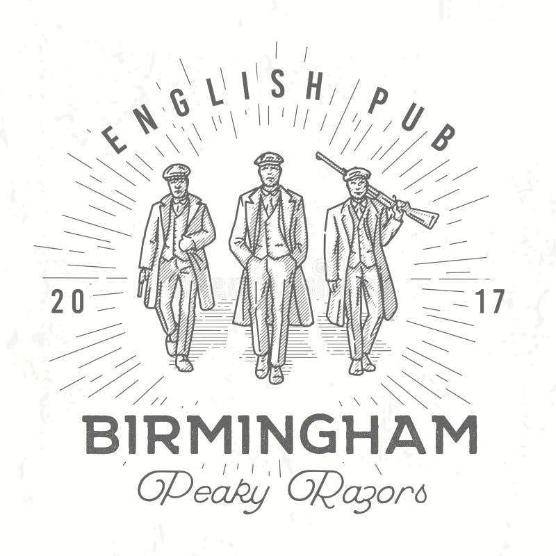 Retro puntig embleem Mensen in hoeden met oogkleppenillustratie Gangsters uitstekende affiche Engelse barinsignes birmingham vector illustratie