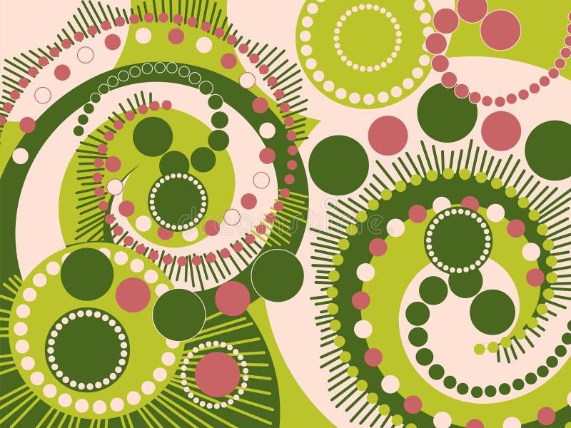 Retro puntini a spirale dentellare verdi illustrazione vettoriale
