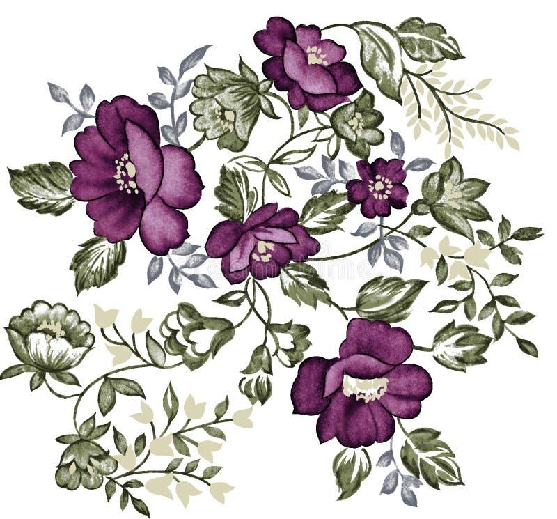 Retro purple flower vector illustration