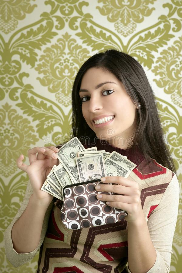 Retro purse dollar woman vintage wallpaper royalty free stock photography