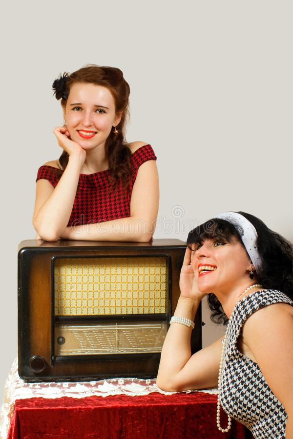 Download Retro radio and girl stock image. Image of smile, girl - 26980063