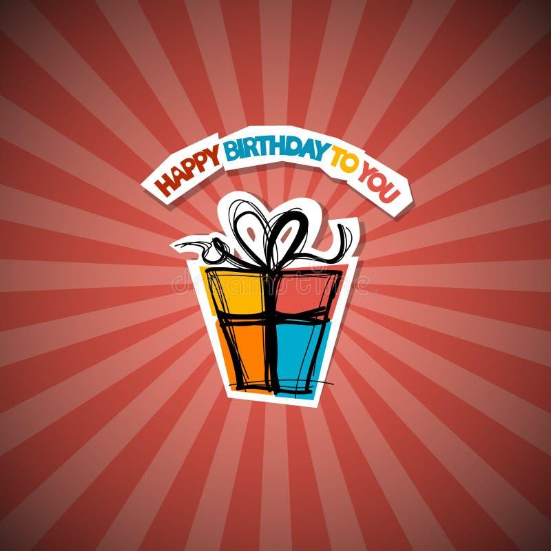 Retro röd bakgrund för lycklig födelsedag vektor illustrationer