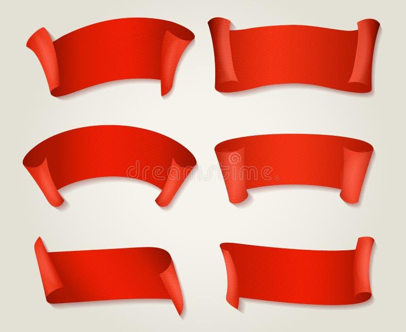 Retro röda siden- band stock illustrationer