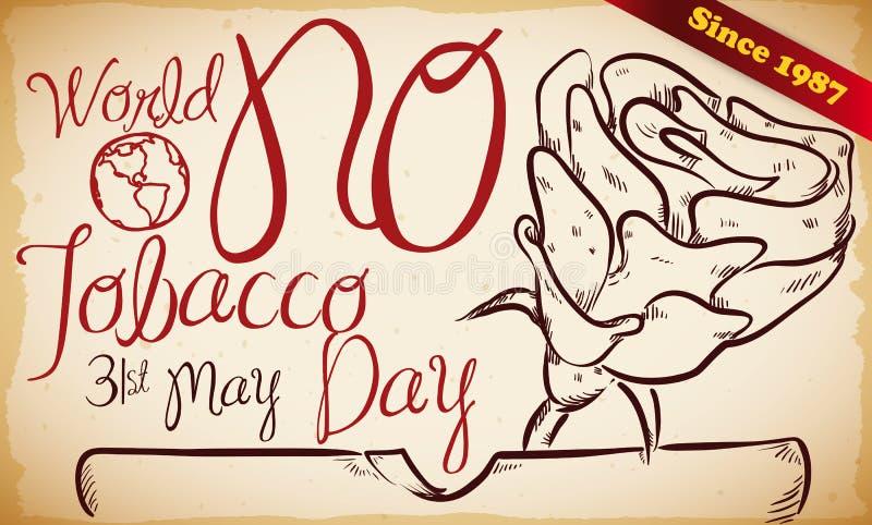 Retro ręka Rysujący projekt dla światu Żadny Tabaczny dnia uczczenie, Wektorowa ilustracja ilustracja wektor