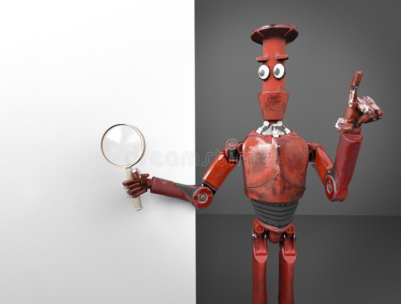 Retro r?d robotsearth i internet 3d att framf?ra stock illustrationer