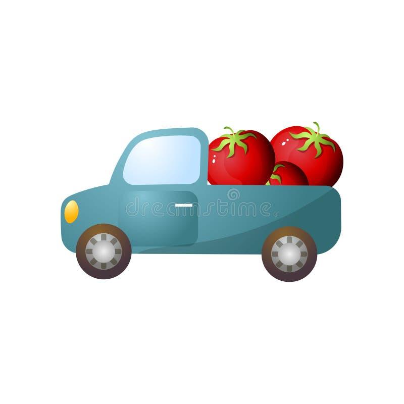 Retro raccolta blu con il pomodoro fresco rosso dell'azienda agricola illustrazione vettoriale