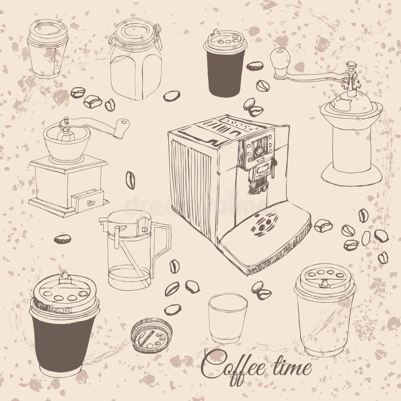 Retro raccolta con differenti oggetti del caffè: tazze, macinacaffè, macchinette del caffè, chicchi di caffè Disegnato a mano illustrazione vettoriale