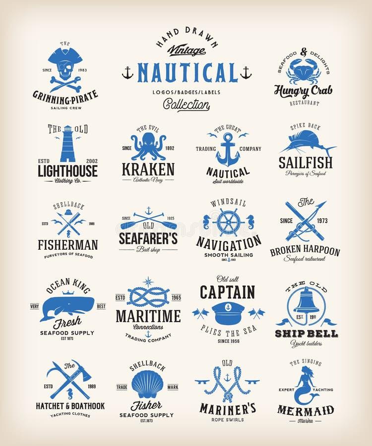 Retro raccolta nautica astratta delle etichette Emblemi d'annata, segni o Logo Templates del mare Balene, ancore, polipo illustrazione vettoriale