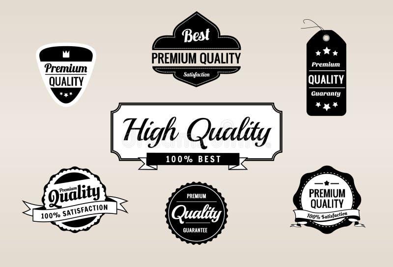 Retro raccolta premio dei contrassegni di garanzia & di qualità illustrazione vettoriale