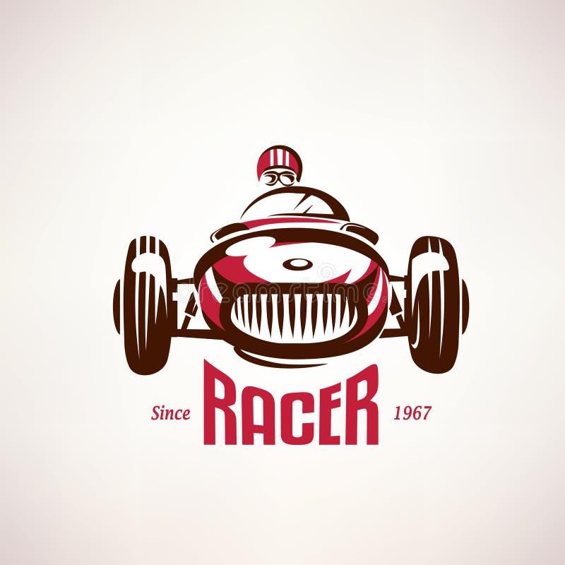 Retro Race Car Vintage Vector Symbol Stock Vector Illustration Of