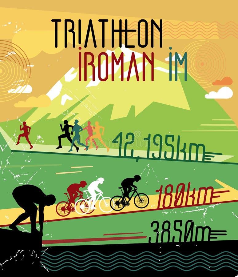 Retro race print. Retro triathlon poster. Poster sports competitions. stock illustration