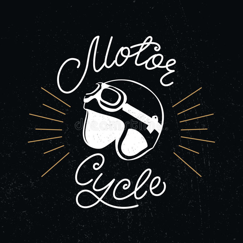 Retro racer helmet and motorcycle hand lettering. royalty free illustration