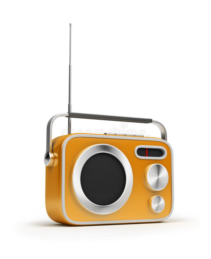 Retro radio. Retro of radio of yellow colour. 3d image. Isolated white background