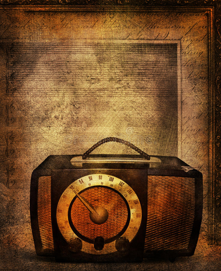 Retro radio. A grunge backdrop image of an old radio with musical bars on a partial frame