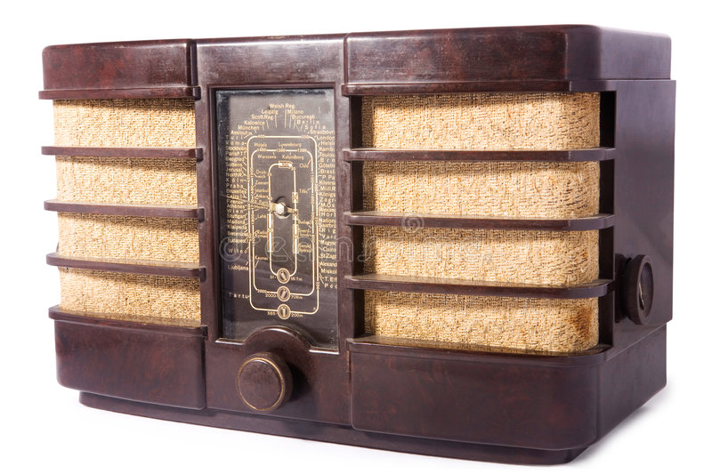 Retro radio. Old vintage radio, white isolated, clipping path included stock photography