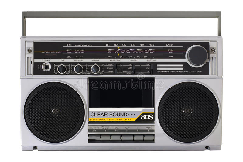 Retro radio from the 80s. Retro boombox radio from the 80s stock photos