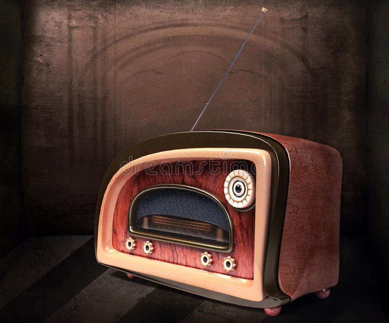 Retro radio designata immagine stock