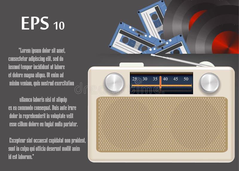 Retro radio, kassetter, schellackdiskett stock illustrationer
