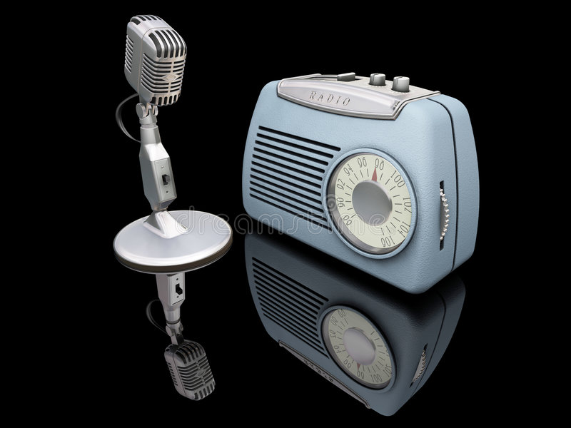 Retro radio and microphone. 3D render of a retro radio and microphone royalty free illustration