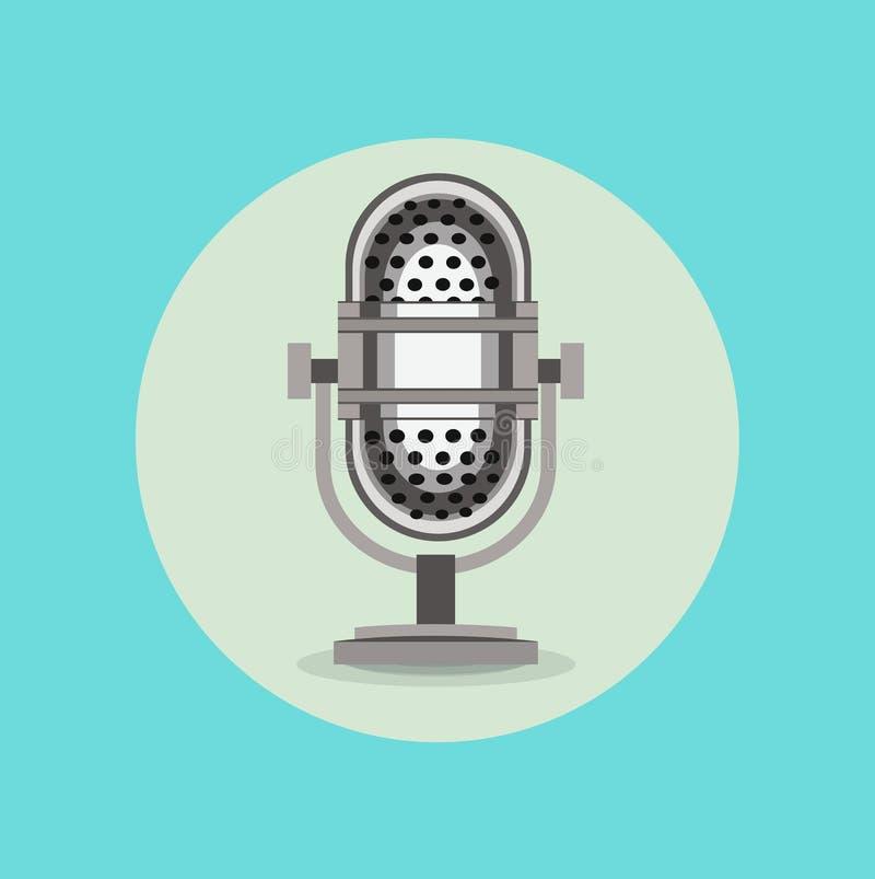 Retro radio microphone sign flat design royalty free illustration