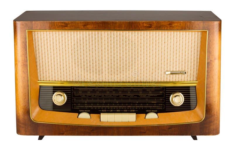 Retro radio. An old wooden radio isolated stock photos