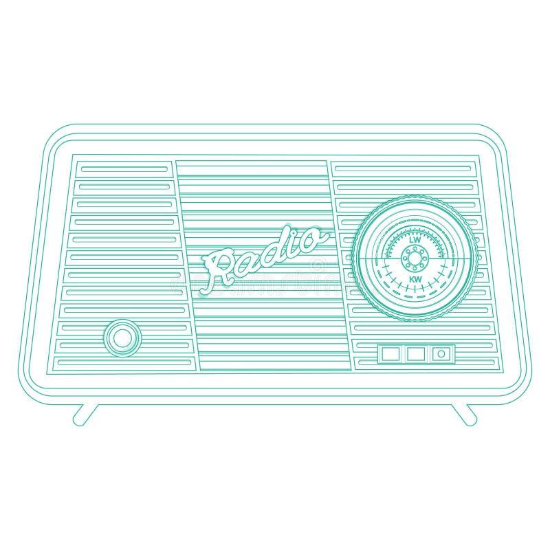 Retro radio, retro anordningar stock illustrationer