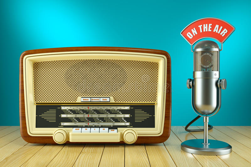 Retro radio and studio microphone. ON THE AIR. Concept 3d vector illustration