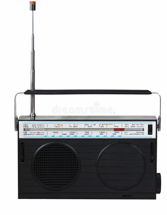 Retro radio su un fondo bianco Isolato immagini stock libere da diritti