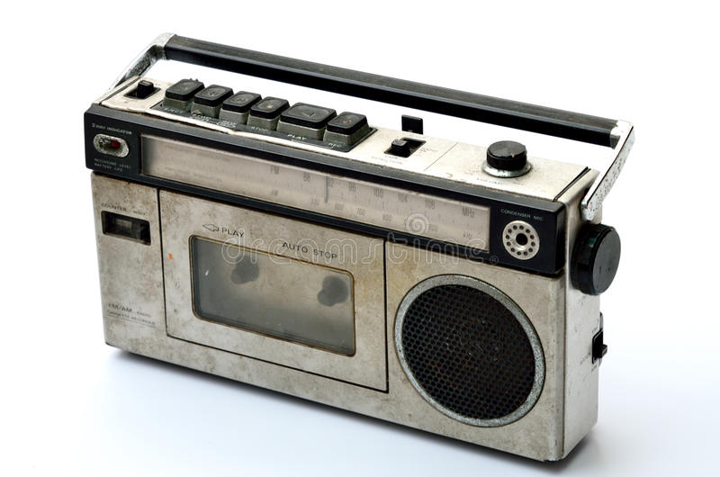 Retro radio and tape player. On white background royalty free stock photography