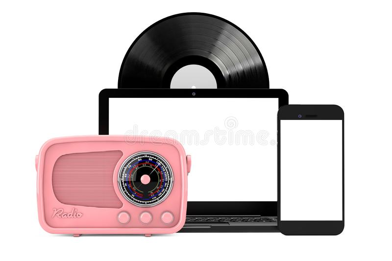 Retro Radio, Vintage Vinyl Record Disk Mobile Phone and Laptop. 3d Rendering royalty free stock photo