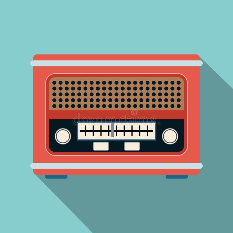 Retro radiowego odbiorcy płaska wektorowa ilustracja ilustracji